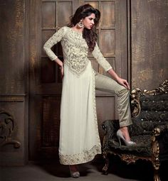 LATEST SALWAR SUITS FOR PARTIES AND FESTIVALS. MAISHA EID COLLECTION.  OFF-WHITE STRAIGHT CUT KAMEEZ SALWAR DUPATTA DRESS