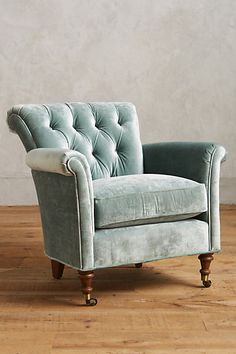 "Slub Velvet Gwinnette Chair #anthropologie  $1098 Dimensions 31""H, 31""W, 33""D Seat: 18""H Back: 31""H, 28""W"