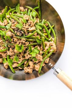 A quick and easy stir-fry with green beans, ground turkey, ginger and hoisin.