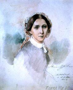 Jean Joseph Bonaventure Laurens - Porträt von Clara Schumann (1819-96) 1853