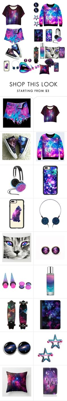 """""""Galaxy"""" by p0livore ❤ liked on Polyvore featuring WithChic, HVBAO, Celebrate Shop, Casetify, Pinrose, Lime Crime and Halftone Bodyworks"""