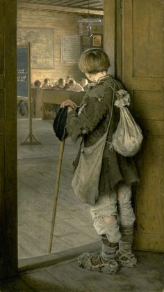 Nikolay Petrovich Bogdanov-Belsky (Russian painter) 1868 - 1945, У дверей школы (At the Door of the School), 1897, oil on canvas, The State Russian Museum, St. Petersburg, Russia