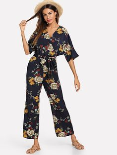 d6c0c778ae Zip Back Belted Floral Jumpsuit. Stylish OutfitsFall OutfitsWomen's Fashion  DressesFloral ...