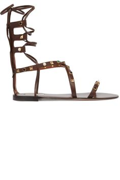 Valentino - Rockstud Embellished Leather Sandals - Chocolate from Net-A-Porter Beaded Sandals, Embellished Sandals, Shoes Sandals, Flat Shoes, Flat Sandals, Valentino Sandals, Valentino Rockstud, Leather Gladiator Sandals, Leather Flats