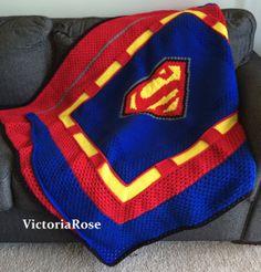 Superman Crochet Blanket Pattern.  Found on Etsy!! crocheted blanket patterns, crochet blankets, crochet superman, craft, crochet afghan, superman blanket, superman crochet, crochet blanket patterns, crochetknit idea