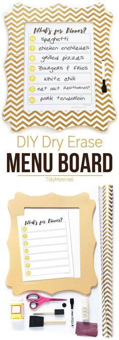 DIY Dry Erase Menu Board with free What's for Dinner Menu printable. Simply write your dinner plan on the glass each week using a dry erase marker. Download free printable at Tidymom.net