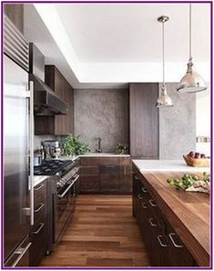 Modern Wood Kitchen - Walnut Kitchen Cabinets - This is nice and I like the dainty pulls. I think if we do walnut kitchen we should do soft pulls/knobs Küchen Design, Layout Design, Design Ideas, Modern Interior Design, Design Inspiration, Simple Interior, Design Interiors, Modern House Design, Interior Inspiration