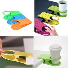 Desk Cup Holder Drink Clip Lap Table Folder Reading Creative Design Home Office Table Manager Color Random
