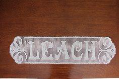 Items similar to Filet Crochet name doily on Etsy Tunisian Crochet, Thread Crochet, Crochet Crafts, Crochet Doilies, Crochet Ideas, Crochet Projects, Knit Crochet, Filet Crochet Name Pattern, Crotchet Patterns