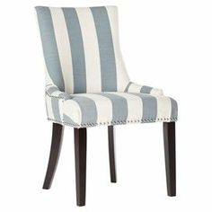 """Showcasing a birch wood frame and nailhead-trimmed striped upholstery, this eye-catching side chair brings a bold touch to your dining room or foyer.   Product: Set of 2 chairsConstruction Material: Birch wood and fabricColor: Grey and whiteFeatures:  Striped designNailhead trimDimensions: 36.4"""" H x 22"""" W x 24.8"""" D"""