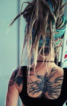 Dreads n tattoos ! Dreadlock Hairstyles, Cool Hairstyles, New Hair, Your Hair, Beautiful Dreadlocks, Hippie Hair, Hippie Dreads, Dreads Girl, Dreadlock Styles