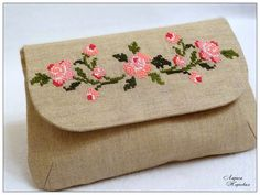 Simple bag with nice cross stitch flowers.