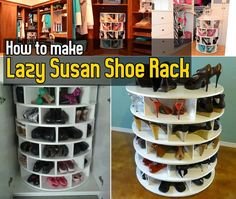 DIY How to Make Lazy Susan Shoe Rack.  Need this NOW!