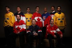 Back row from left: Marcus Kruger (Sweden), Marian Hossa (Slovakia), Niklas Hjalmarsson (Sweden), Jonathan Toews (Canada), Michal Rozsival (Czech Republic), Michal Handzus (Slovakia), Johnny Oduya (Sweden). Front row from left: Patrick Sharp (Canada), Patrick Kane (USA), Duncan Keith (Canada). They are Olympian Blackhawks photographed in Vancouver leading up the Sochi Winter Olympics.