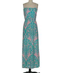 Look at this #zulilyfind! Peach & Mint Filigree Strapless Maxi Dress by Fashionomics #zulilyfinds $29.99, regular 38.00