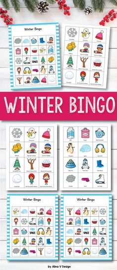 Winter bingo printable game for kids and families perfect for classrooms, large groups or family dinners. This fun game set includes 30 bingo cards 24 calling cards. Add this set to your Winter activities this year, and your preschool or kindergarten students will have so much fun with this class set! #winter #bingo #game #printable #kids #classroom #christmas