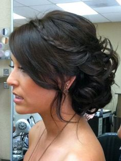 I like this for bridesmaids, for my hair I want half up with a braid, so all up with a braid for the girls works great to tie it together.