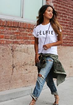 Fall Trend: Military Muse - camo jacket, graphic tee and boyfriend jeans.