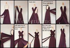 38 ideas dress wrap tutorial bridesmaid for 2019 Infinity Dress Ways To Wear, Infinity Dress Styles, Infinity Dress Bridesmaid, Bridesmaid Dresses, Bridesmaids, Prom Dresses, Infinity Dress Tutorial, Vestido Convertible, Multi Way Dress