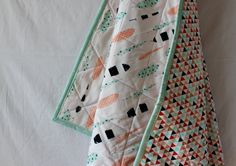 Baby Quilt Baby Blanket Feathers and Triangles in Mint by Saraisms