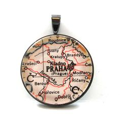 Vintage Map Pendant of Prague Czech Republic by CarpeDiemHandmade, $12.50