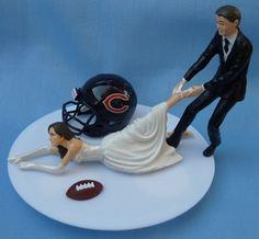 Wedding Cake Topper - Chicago Bears Football Themed Bride