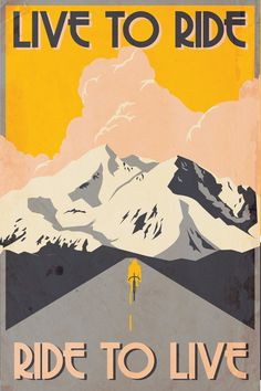 Ride to live // Cycling Poster // Retro bike poster // by MMcKinneyDesigns