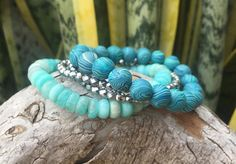 Amazonite Bracelet Stack Pyrite Bracelet Wrap Bracelet Boho