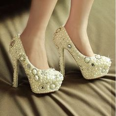 94.99$  Buy now - http://aliwkd.worldwells.pw/go.php?t=1980440145 - 2016 New Style Slipper wedding shoes Pearl wedding shoes High heel shoes Diamond shoes  dress shoes Formal Shoes Party Shoes