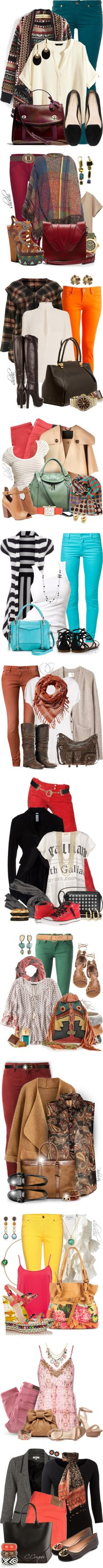 Colored Jeans by shuchiu on Polyvore featuring 7 For All Mankind, H&M…