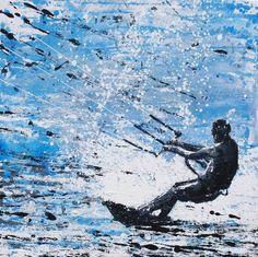 Kite Surfer - Ocean Motion, Cornwall. Original Painting by Melanie McDonald. Art prints available. Love this