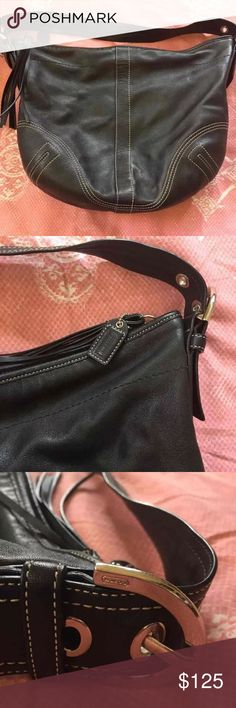 🛍must go🛍 Black coach bag In excellent condition. Soft black leather with white stitching Coach Bags Hobos