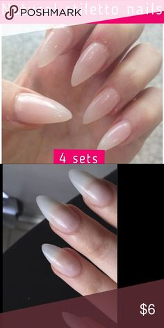 4 sets natural stiletto nails Not painted treated or filed Ready to be filed or painted or treated with acrylic 40 pcs total 10 different sizes No glue included Stiletto style Faux nails press on nails color as first photo included Have white color as well Full cover not tips 4 sets natural color stiletto nails. Not mac brand just for exposure MAC Cosmetics Makeup