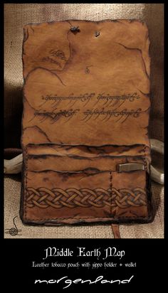 """""""Middle Earth Map""""  Leather tobacco pouch    Another version of the previous pouch with extra folds for money and zippo lighter holder. Ring's text pyroengraved inside the pouch. Non colorized. The antique effect made with pyrographer and fire."""