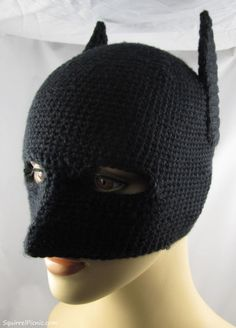 4d9298a9a9f Batman Mask -  crochet a dark knight hat mask for the winged superhero in