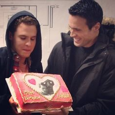 Iain De Caestecker and Brett Dalton<<<I showed this to my friend without context and she just said 'f*cking cake! Leopold Fitz, Shield Cast, Marvel Comics, Grant Ward, Ming Na Wen, Iain De Caestecker, Fitz And Simmons, Marvels Agents Of Shield, Agent Carter