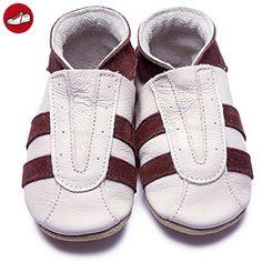 Inch Blue Jungen Schuhe für den Kinderwagen aus luxuriösem Leder - Weiche Sohle - Sneaker Cremefarben & Braun (*Partner-Link)