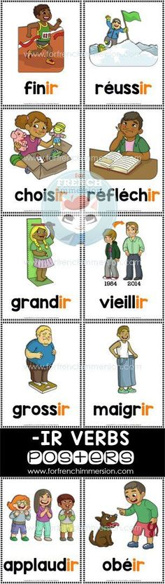 French IR Verbs Posters in color and B&W. This is part of a bundle of printable resources for French teachers. French Verbs, French Grammar, French Teacher, Teaching French, Laura Lee, Learn To Speak French, French For Beginners, Core French, French Classroom