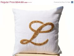 SALE Decorative pillow  Customized monogram pillow  by AmoreBeaute