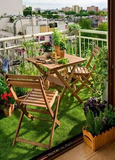 15 green decorating ideas for small balcony spring decorating small terrace spring and. Black Bedroom Furniture Sets. Home Design Ideas