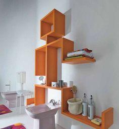 meuble design en orange pour salle de bain