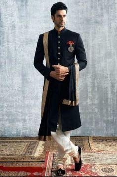 Latest designer wedding sherwani patterns for indian groom - Wedding Dresses Men Indian, Wedding Dress Men, Wedding Suits, Indian Weddings, Wedding Couples, Mens Wedding Wear Indian, Wedding Blazers, Wedding Ideas, Wedding Groom
