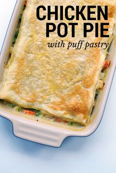 This Chicken Pot Pie recipe with Puff Pastry makes dinner TOO easy! Also, it's freezer friendly.   themillennialmenu.com