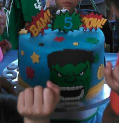 The other side to my sons hulk and iron man birthday cake.  Made by my Mom Christy for her first grandchild Sojin.