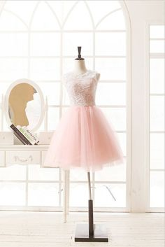 Blush Pink Tulle Lace Wedding Dress Bridesmaid Dress Prom Dress Knee Short Dress can be made to fit $99.00