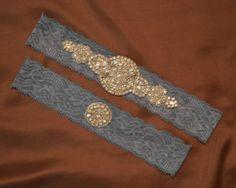 Rhinestone Wedding Garter Set Elegant Blue by HavingFunWithCrafts, $23.99