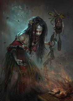 Digital Concept Art by Andrei Pervukhin.  Necromancer.  Dark shaman.