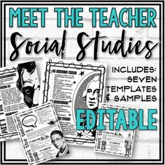 "This Social Studies-themed back to school ""Meet the Teacher"" template bundle is perfect for ""Back to School Night,"" Open House, or Registration Day. I've included 7 visually appealing editable templates and 4 completed samples in this bundle. I've also included instructions and two freebies as part ... What Is Geography, Syllabus Template, Meet The Teacher Template, Teacher Forms, Back To School Night, Bulletin Board Display, History Class, New Teachers, Social Studies"