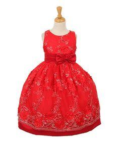 Loving this Red Floral Sleeveless Dress - Toddler & Girls on #zulily! #zulilyfinds