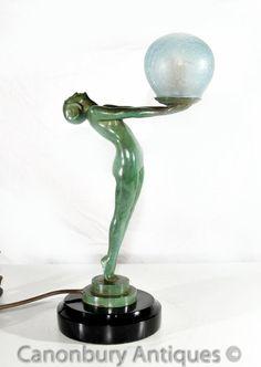 Art Deco Bronze Clarte Biba Girl Figurine Table Lamp Light Art Deco Lamps, Bronze, Art Deco Fashion, Glass Shades, Art Nouveau, Candle Holders, Table Lamp, Lamp Light, Lights